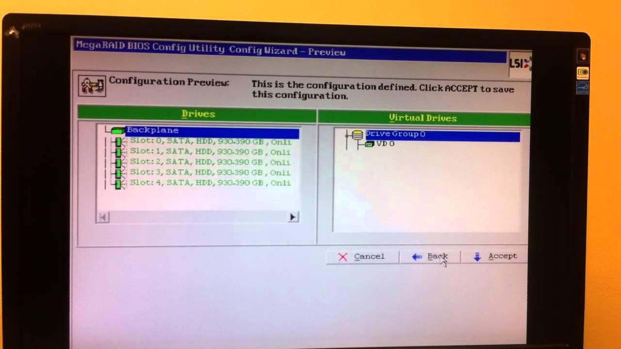 MegaRAID Bios Config Utility (pre-vmware)