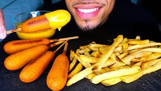 Asmr Corn Dogs With Cheese And French Fries Mukbang Crispy Big Bites Eating Sounds No Talking