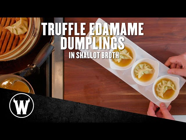 Truffle Edamame Dumplings with Shallot Broth | The Wicked Kitchen