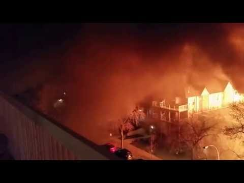 The historic building Leamington Mansion Fire in Edmonton on 114 Street & Jasper Avenue