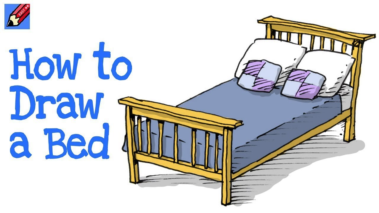How To Draw A Bed Real Easy