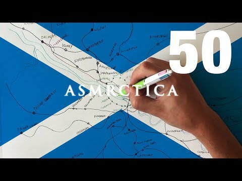 ASMR 1 Hour Drawing Map of Glasgow Public Transportation System | Binaural Soft Spoken