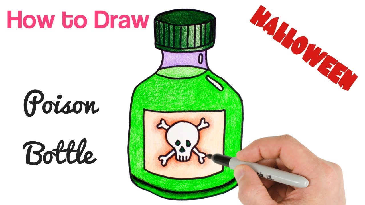 How To Draw A Poison Bottle Easy Halloween Drawings For Beginners Youtube