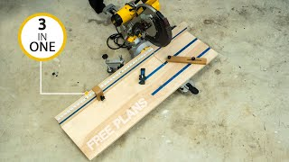 3 in 1 miter saw station (must have WOODWORKING jig)  DIY Creators