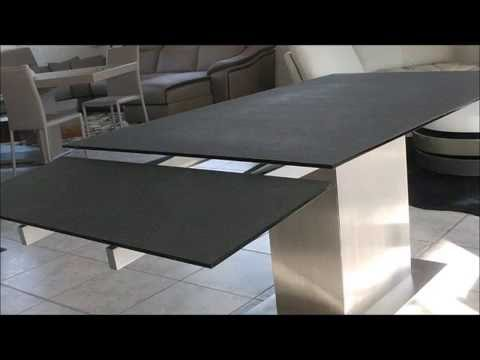 auckland table de salle manger effet ceramique avec rallonges youtube. Black Bedroom Furniture Sets. Home Design Ideas