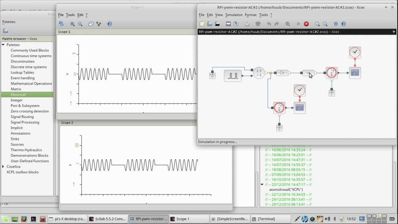 RaspberryPi: fischertechnik motor via transistor and pwm #17 - more  simulations using Scilab/Xcos