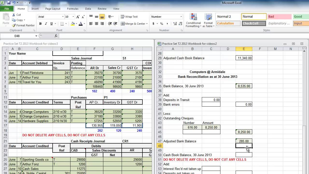 practice set bank reconciliation youtube