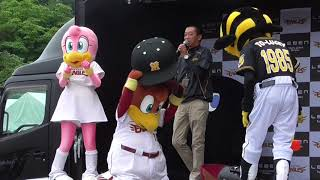 楽天のクラッチくんたちと阪神トラッキーさんのステージ thumbnail