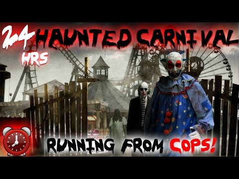 (COPS) 24 HOUR OVERNIGHT CHALLENGE AT HAUNTED CARNIVAL // RUNNING FROM COPS! OVERNIGHT IN A CARNIVAL