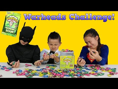 Extreme Sour Warheads Challenge With Silver Power Ranger Batman Supergirl Ckn Toys