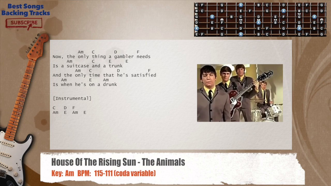 House Of The Rising Sun The Animals Guitar Backing Track With