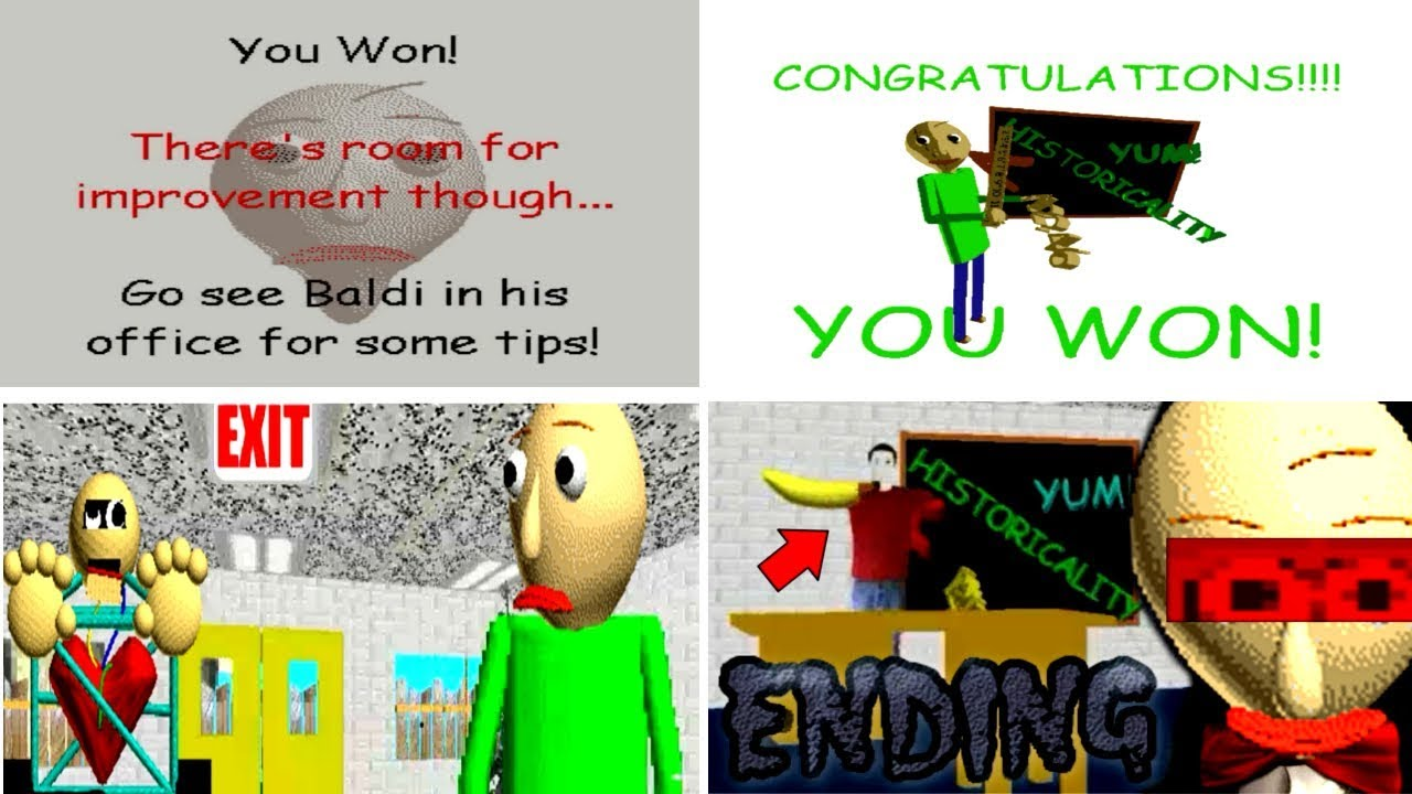 ALL SECRET ENDINGS Baldi's Basics in Education and Learning v1.3.1