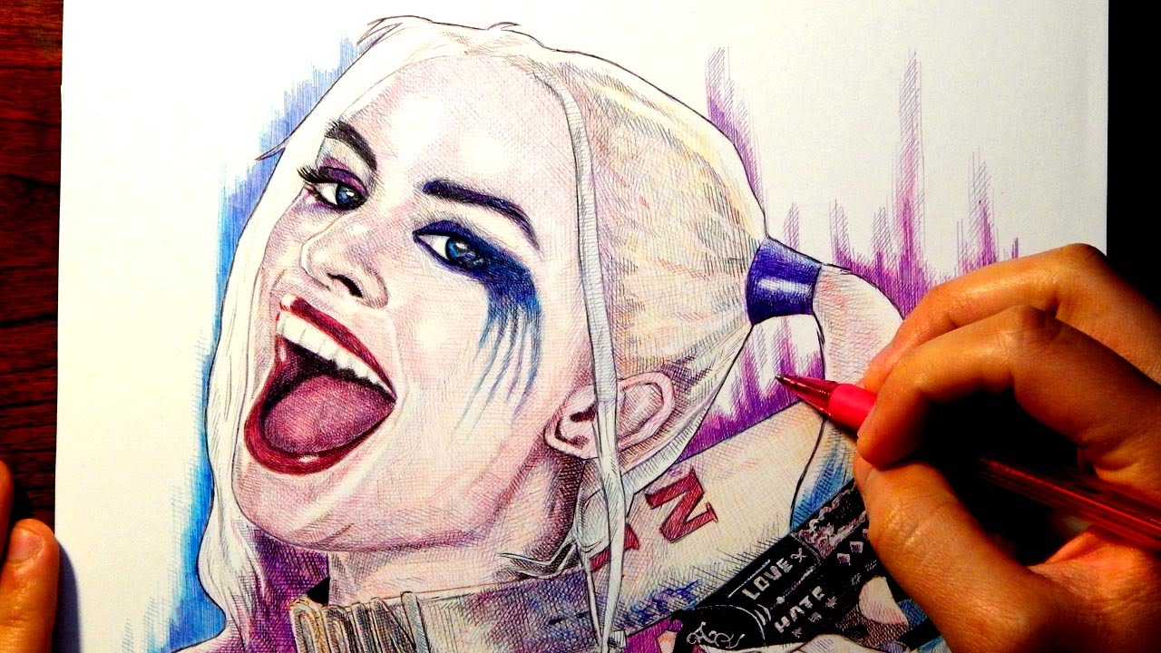 HARLEY QUINN: SUICIDE SQUAD DRAWING - YouTube