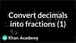 Converting repeating decimals to fractions 1 | Linear equations | Algebra I | Khan Academy