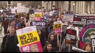 عشرات آلاف البريطانيين يتظاهرون ضد سياسات ترمب