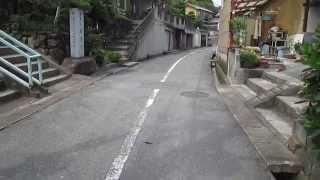 鉄道廃線【井笠鉄道】笠岡山・威徳寺・踏切跡(平成27年6月20日)