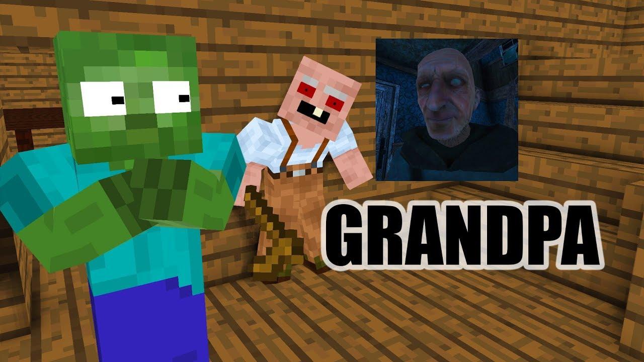 Monster School : GRANDPA HORROR GAME CHALLENGE - Minecraft Animation