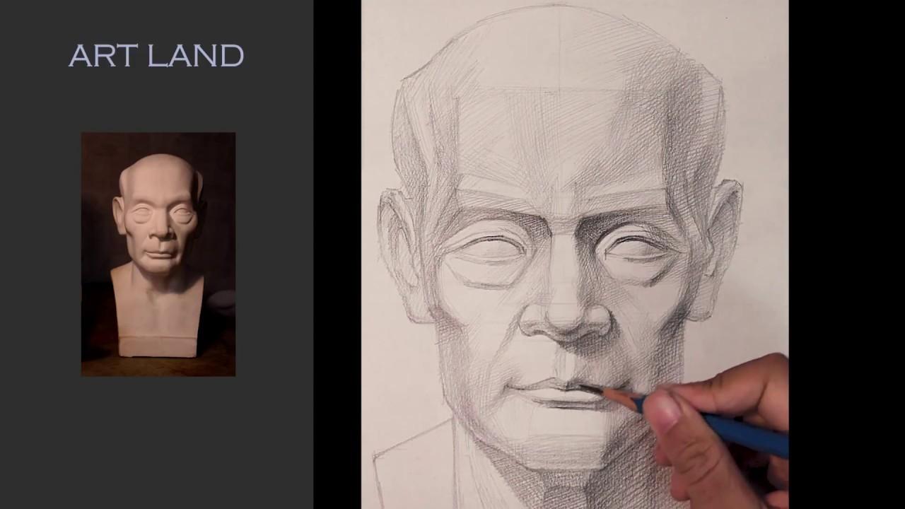 Hướng dẫn lên bóng đầu tượng thạch cao Nam Trung Niên góc chính diện – Lớp dạy vẽ Art Land