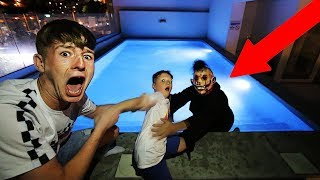 SCARY MONSTER INVADES OUR SWIMMING POOL AT 12AM!