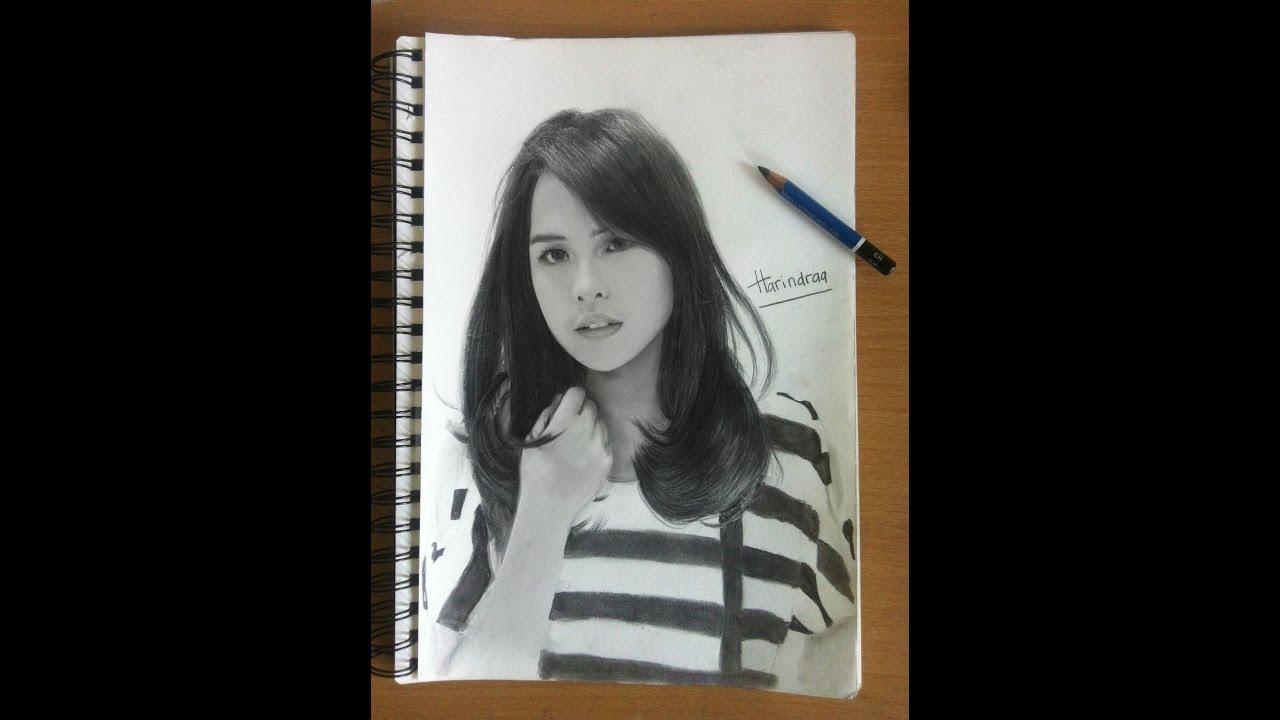 Pencil Drawing Maudy Ayunda Cara Menggambar Wajah Youtube