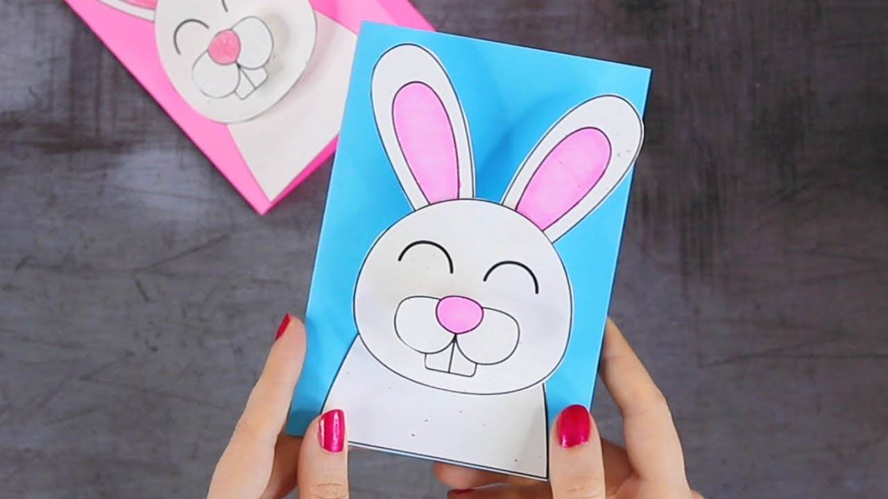 How To Make 3d Bunny Easter Card Easter Crafts For Kids Youtube