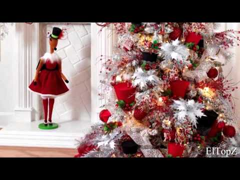 Decorando rbol de navidad en blanco y rojo ideas - Arboles de navidad blanco ...