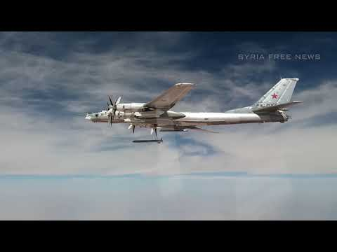 Tu-95MS targeting with cruise missiles on terrorist positions in Syria. Full version.