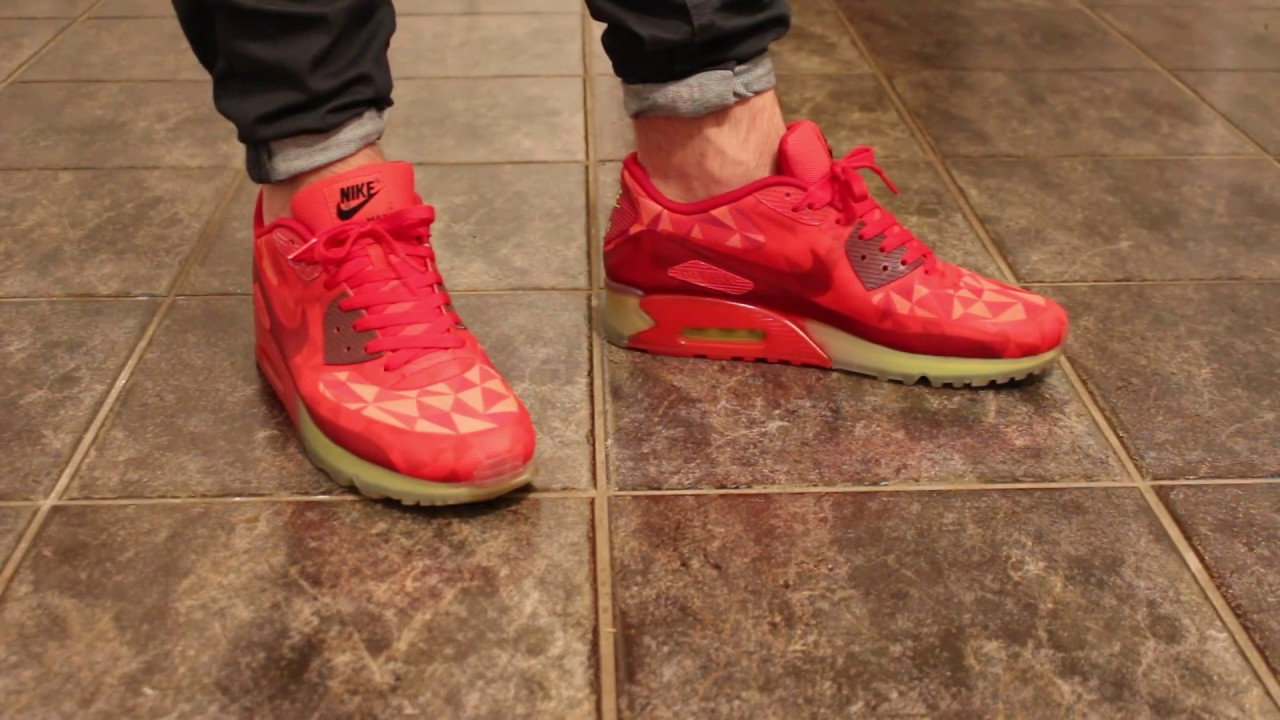 best cheap f6861 970fd Nike Air Max 90 Ice Gym Red ON FEET