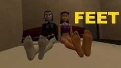 Teen Titans Feet Raven & Starfire Soles Feet on Face Soles 3DFeetSoles