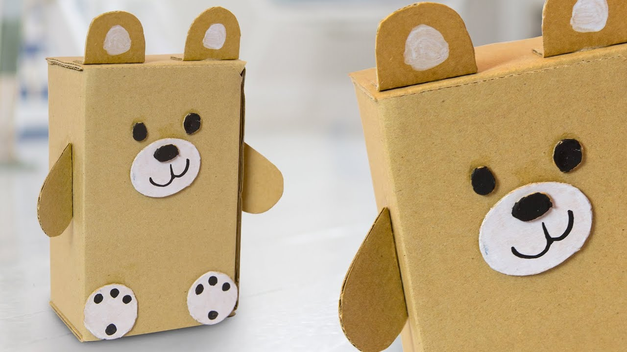 Diy Teddy Bear From Cardboard Box Easy Cute Craft Ideas For Kids
