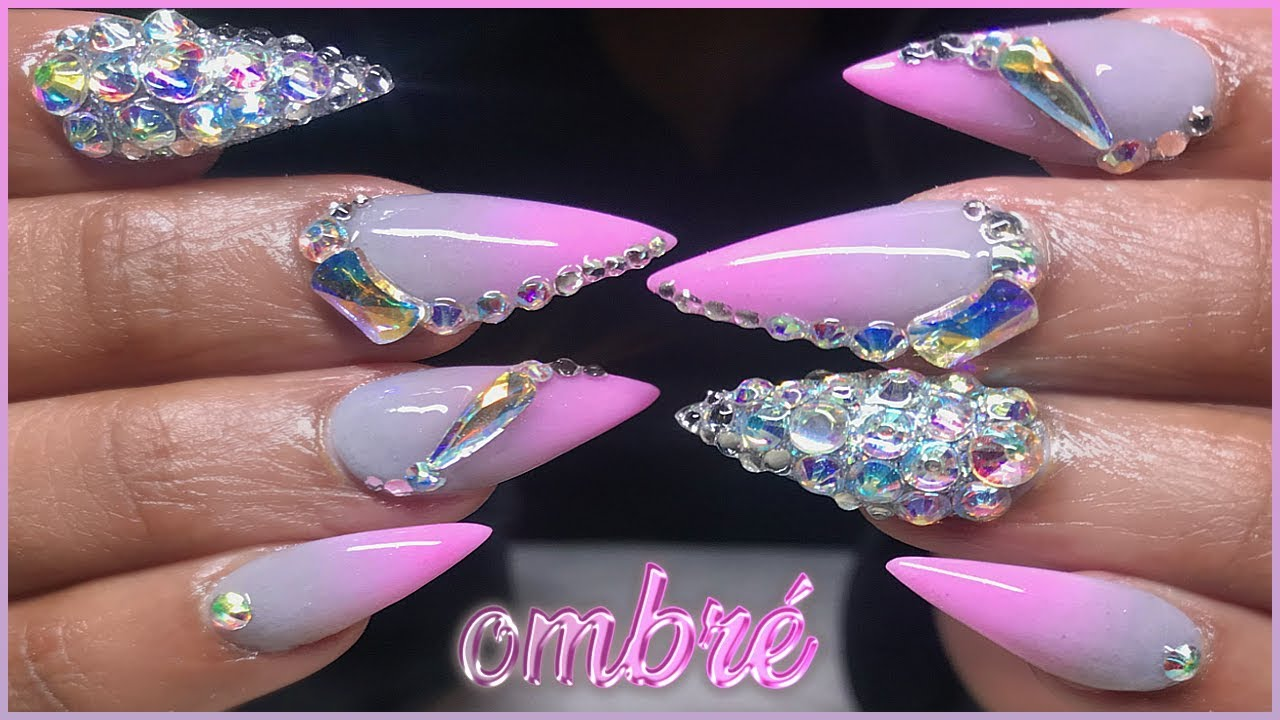 Femi's Gray to Pink Ombré Bling Acrylic Nails Full Set | Apres DUPE Update | Giveaway Poll!