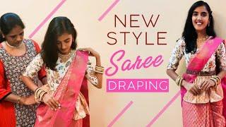 5 நிமிடத்தில் வித்யாசமாக புடவை கட்டுவது எப்படி? | Saree draping Tamil