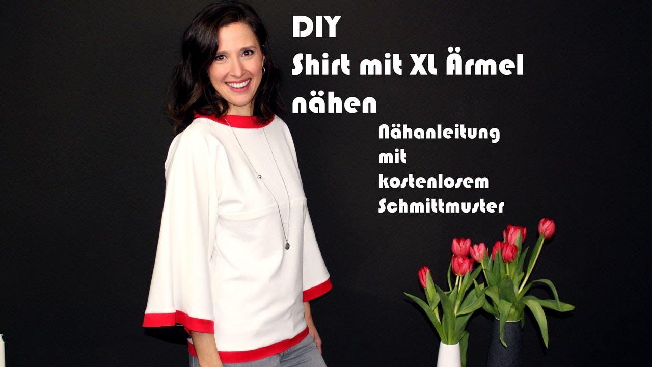 DIY Shirt mit weiten Ärmeln und Softshell Einsatz nähen ...