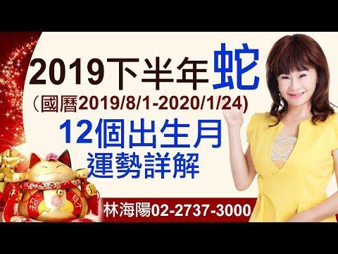 林海陽 2019【生肖蛇】下半年運勢(12個出生月,個別詳解) 20190604