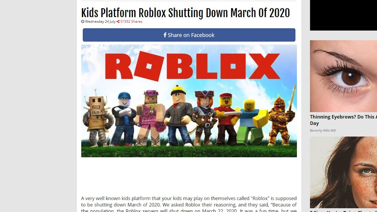 Is Roblox Really Shutting Down In 2020 Youtube