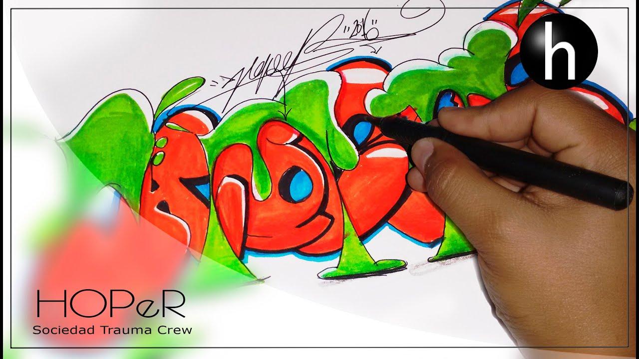 Graffiti en papel hoper speedart 2 youtube - Graffitis en papel ...