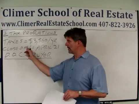 Real Estate Math Free Practice Test-1, No 3 Tax Proration Problem