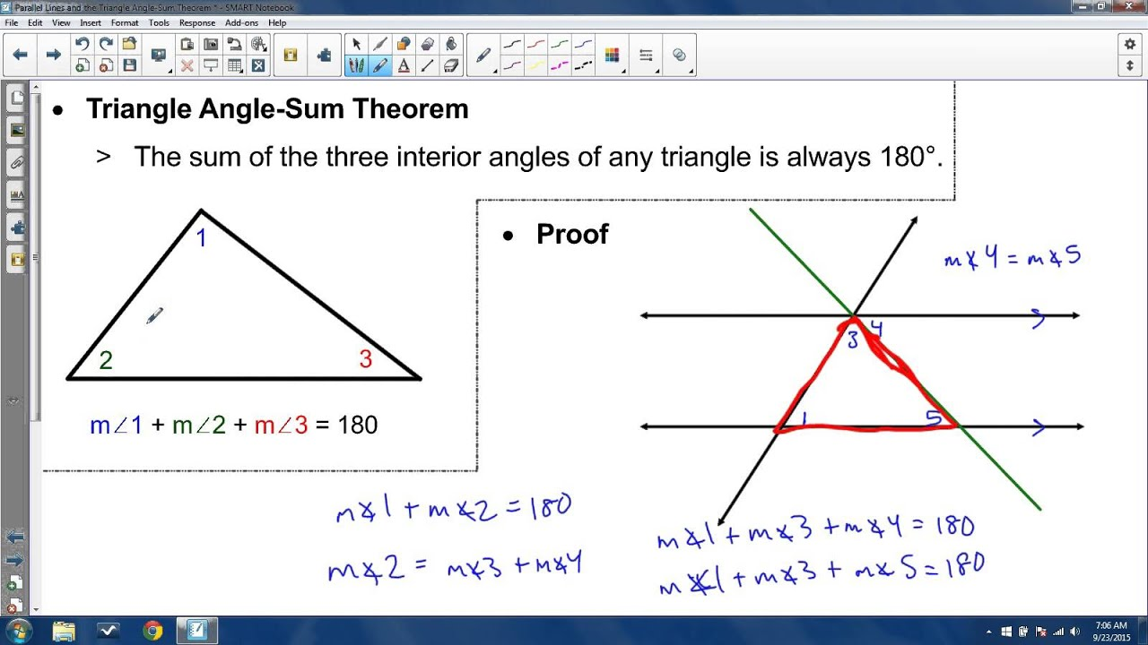 34 Parallel Lines And The Triangle Angle Sum Theorem Youtube
