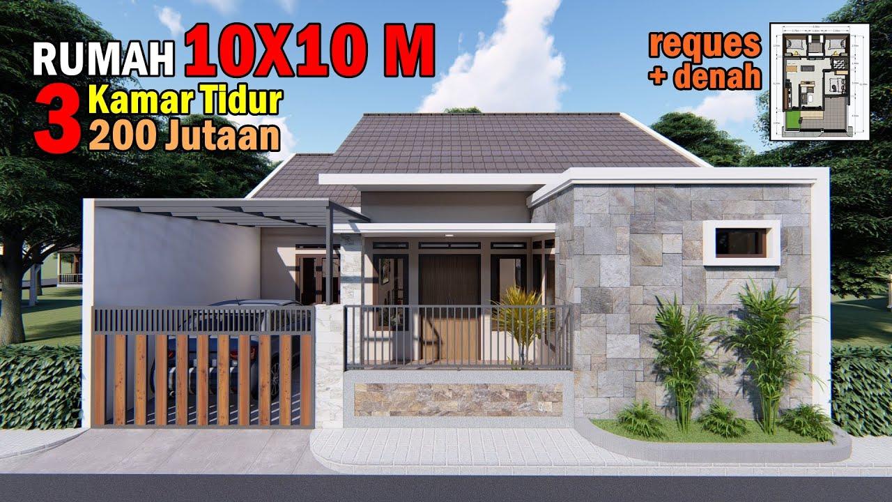 Desain Rumah 10x10 M Dengan 3 Kamar Tidur Youtube