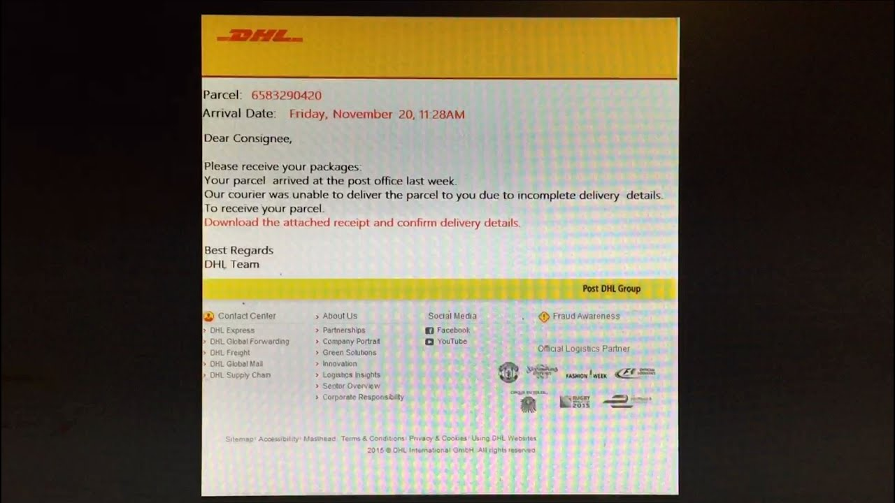 DHL Email Spam/Virus