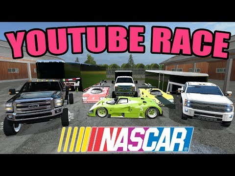FARMING SIMULATOR 2017 | HAULING RACE CARS TO THE TRACK + GETTING SET UP FOR RACE DAY 2017!