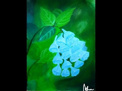 One stroke Blue bell acrylic painting video ll Quick and easy floral composition