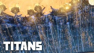 Planetary Annihilation: TITANS - 500 Helios Titans vs 5.000 Bots (Anti-Orbital) | MASSIVE BATTLE
