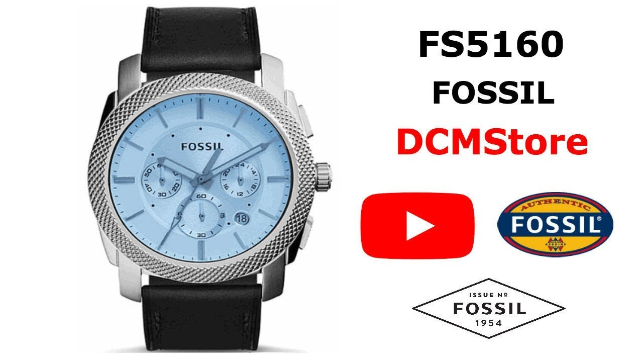 Fs5160 Fossil Machine Chronograph Blue Dial Dcmstore Youtube Fs5170