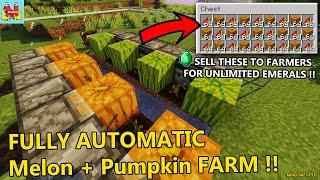 How to Build Effi¢ient + Easy Automatic Melon Farm and Pumpkin Farm !! - Minecraft Farm Tutorial