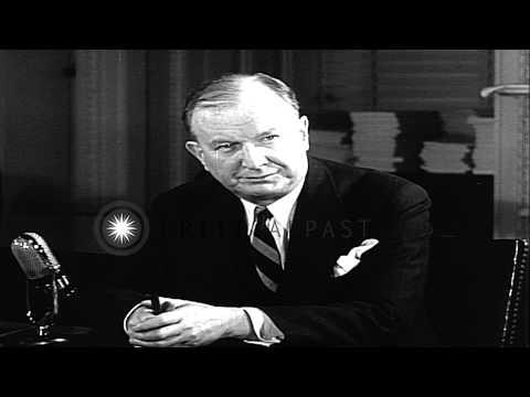 Senator Burton K. Wheeler records radio address objecting to the Lend Lease Bill HD Stock Footage