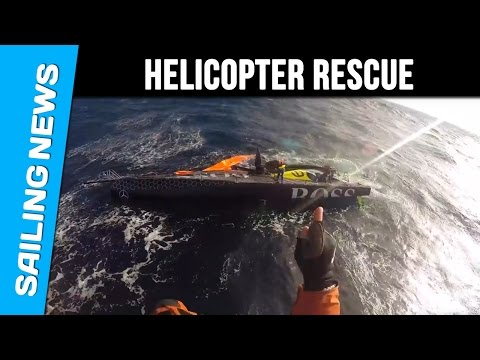 Helicopter rescue for HUGO BOSS-  Alex Thomson and Guillermo Altadill