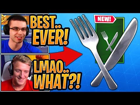 """Tfue & Streamers React to the *NEW* """"Fork Knife"""" Dual Wield Pickaxe! - Fortnite Best Moments"""