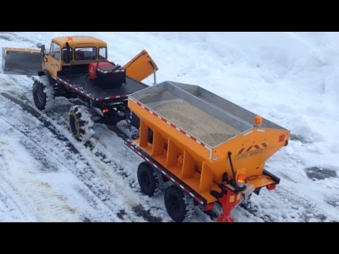 Rc Snow Plow With Working Trailer Sander Youtube