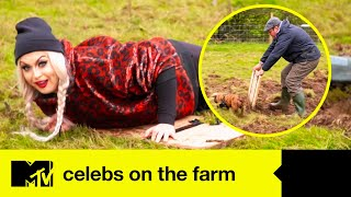 Cheryl Takes A Muddy Tumble During The Celebs' Pig Herding Test | Celebs On The Farm